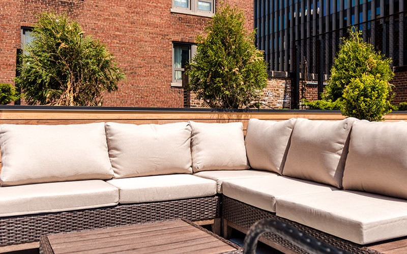 patio furniture on rooftop terrace